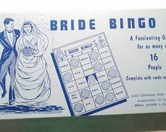 Vintage 1950 1940 Bride bingo wedding shower game with wonderful graphics