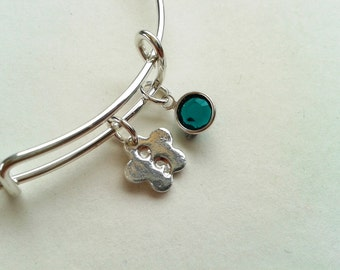 Silver Flower Semicolon Charm Bracelet,Sterling Silver Bracelet, Adjustable Sterling Silver Bangle, Swarovski Crystal Silver Bangle.
