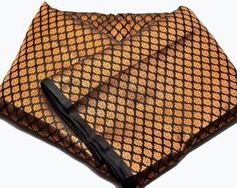 Free Shipping in US - Luxurious Hand Woven Black Beauty Banarasi Brocade with Golden Motifs Silk Fabric by Yardage