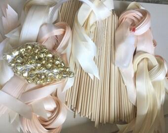 50 DIY Wedding wand kit your choice of ribbon color