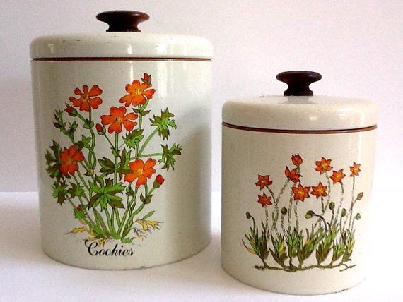 ransburg metal canisters set of 2 floral canisters cookie