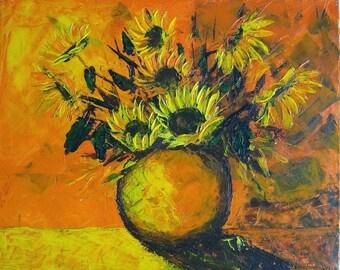 Sunflowers, acrylic painting, orange, flowers