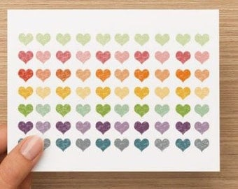 Multi-color heart notecards.  Distressed appearance.  Blank inside.