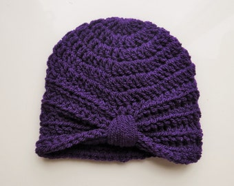 Handmade Crochet Baby Turban Style Hat in Emperor (Purple) 0-3 months, ready to ship great photo prop! Baby Gift, Baby Showers