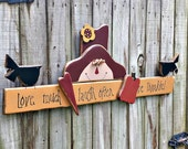 Love Much Laugh Often Be Thankful Primitive Sign with Scarecrow - Handmade - Wall Decor - OFG, FAAP, HAFAIR, Team HaHa