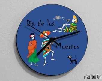 Dia de Los Muertos Sugar Skull - Day of the Dead - Calavera - Wall Clock