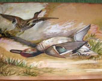 "1899 J. C. Ferguson Signed Duck Watercolor Painting 21"" x 14-1/2"""