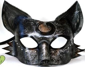 Starry Fox Mask, Silver and Black Kitsune, Masquerade Mask, Gemstone Fox Mask, Goth Fantasy Mask, Fox Fursona