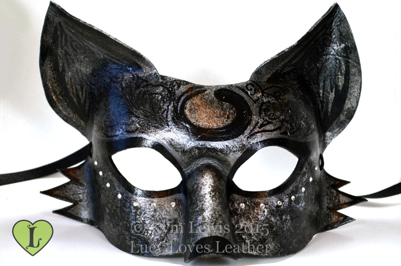 Starry Fox Mask Silver and Black Kitsune Masquerade Mask
