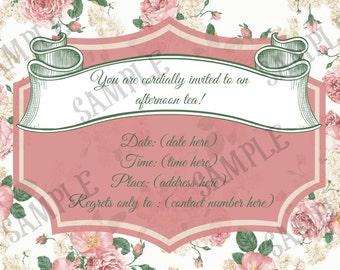 Vintage Floral Afternoon Tea Invite PDF