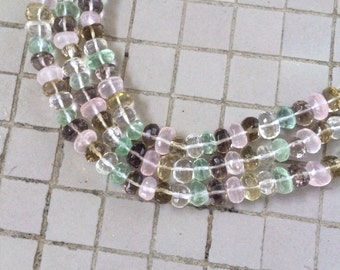 "15-1/2"" Mixed Stones of Quartz, Prehnite, Smoky Quartz, Rose Quartz and Lemon Quartz Faceted Nugget Beads"