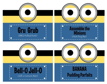 INSTANT DOWNLOAD - Minion Food Labels, Folded Food Tents, Buffet Cards