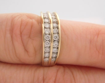 1.00 Carat Total Weight Ladies Round Cut Diamond Band 14K Yellow Gold