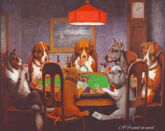 Dogs Playing Poker - Canvas Art Print (12x14)