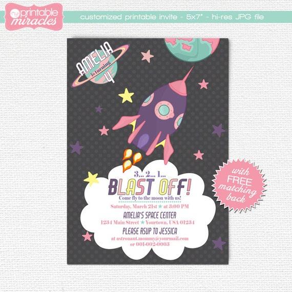 Pink purple rocket invitation Girls space birthday invitation – Space Party Invitation