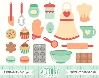 20 Baking Clip Art, Kitchen Clipart, Cooking Clip Art, Cupcake, Apron, Baking Set, Kitchen Clip Art Set, Cookies, Cake Vector by Vectory