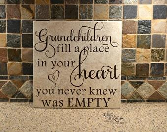 Grandparent Gift, Grandchildren fill a place in your heart , Grandparents Gift, Grandparents sign,Grandparents Tile