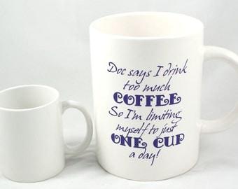 JUMBO COFFEE MUG - Coffee Addict - Coffee Lover - Java Junkie - Fun Coffee Mug - Extra Large Mug - 60 oz Mug - Caffeine Addict - Coffee Mug