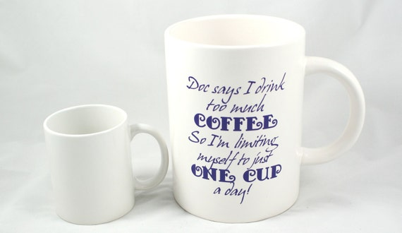 JUMBO COFFEE MUG - Coffee Addict - Coffee Lover - Java Junkie - Fun Coffee Mug - Extra Large Mug - 60 oz Mug - Caffeine Addict - Coffee Mug