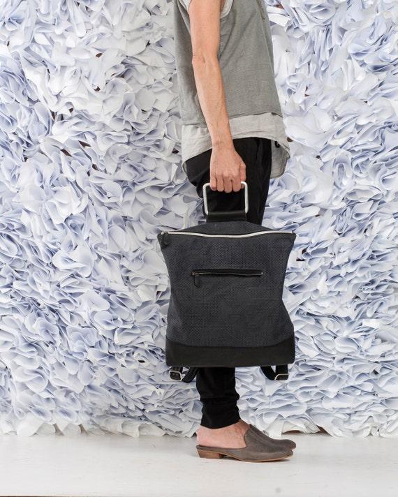 Black Leather Backpack / Leather Like Tote Bag / Purse / Unisex Laptop Bag / School Bag / Handbag / Shoulder Bag / Student Bag - Nubo