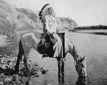 Native American Indian poster, Blackfoot on Horseback, at the River's Edge, Montana