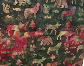 Batik Moose Squirrels Fish Bears Trees Elk on a Variegated Reds & Greens