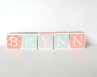 Personalized Wooden Name Baby Blocks- Letter Blocks- Age Blocks- Baby Shower Gift