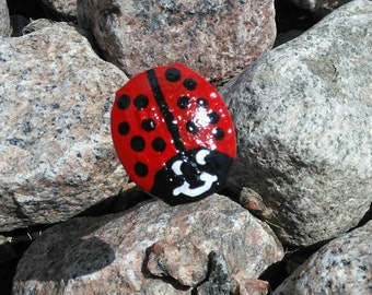 Railroad spike,two hand painted ladybug art for the garden, landscape, yard, garden, poted  plant,