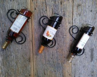 Metal wine rack, wrought iron wine bottle holder, rustic wine bottle hanger, wine bottle display, black wrought iron
