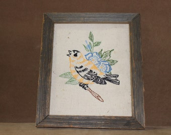 Framed Embroidery/ Needlepoint / Needlework/Bird and Flowers