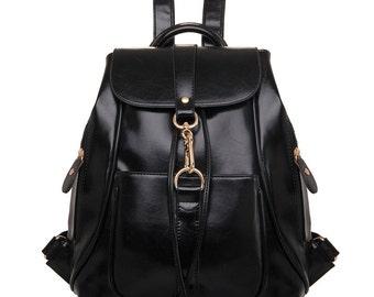 Large capacity leather backpack, backpack, laptop bag, books, travel bag