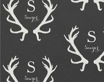 Antlers Deer/Stag/Elk in Charcoal Personalized Monogram Name Baby / Toddler Blanket