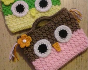 Crochet Girls Owl Purse, Owl Handbag, Handle Purse
