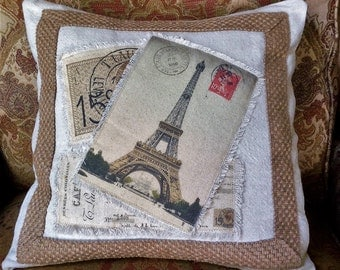 Vintage French Images Pillow Cover with Accent Trim