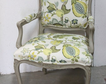 Gorgeous grey vintage sidechair with green and yellow floral upholestry