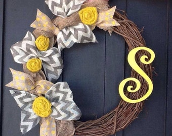 Chevron Wreath, Monogrammed  Wreath, Wreath, Spring Wreath