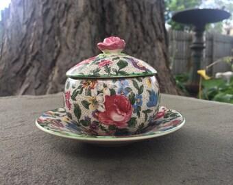 Fondeville Ambassador Ware Jam Jar / Sugar Bowl with Plate