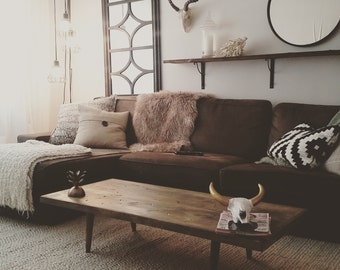 Rustic coffee table with Midcentury legs