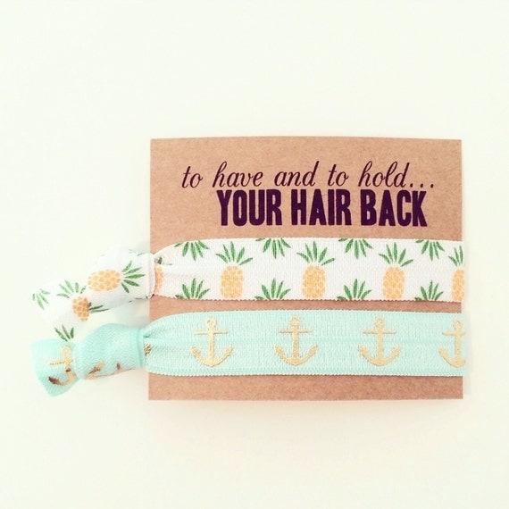 Beach Bachelorette Hair Tie Favor | Pineapple + Anchor Hair Tie Favors, Bachelorette Party Hair Tie Favors, Beach Welcome Bag, Mint Anchors
