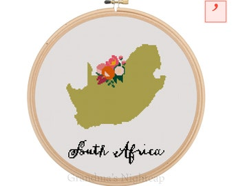South Africa Cross Stitch Pattern Modern Cross Stitch Pattern Country Cross Stitch Pattern South Africa Art South Africa Country Art
