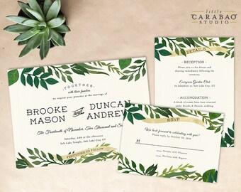 DIGITAL Wedding Invitation Set PRINTABLE Botanical Wedding Invitation Set - DIY Digital Invitation Suite - Little Carabao Studio - #006