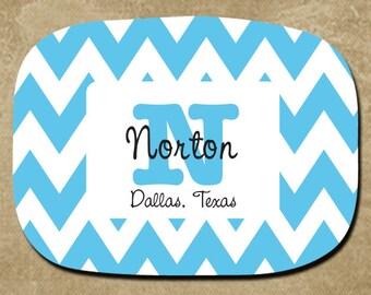 Personalized Melamine Platter, Blue Chevron Serving Tray, Hostess Gift, Housewarming, Custom Name Monogram Platter, Kitchen Decor