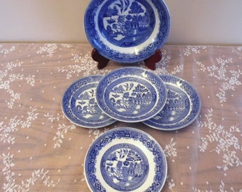 Authentic Antique Blue Willow China Set Ridgeway North Staffordshire 1832 Trademark Kitchen Dining Room Decor Blue and White Vintage Serving