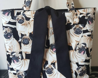 Black Designer Pug fabric tied tote bag, fully lined in black fabric - can also be custom made