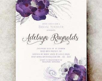 Purple white Bridal shower Invitation printable -  Bridal shower Invitation, floral bridal shower invitation printable