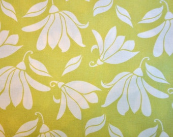 destash quilt cotton fabric,Verna by Kate Spain from moda  white flowers on chartreuse green 1 yard