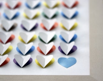 Multicolored 3D Guest Book for 100 (or 200) Guests. Rainbow 3D Guest Book. Heart 3D Guest Book. Choose the color of flat heart