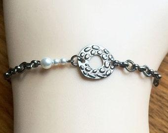 Stylish Swarovski Pearls Gunmetal Bracelet or Anklet-Genuine White Crystal Swarovski Pearls-Abstract Art Bracelet-Industrial Chic--Gift Box