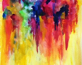 """Original Abstract Watercolor 'Rain of Hope' by Shaolan Sung-9""""x12""""-Colorful Painting-Energy Painting-Yellow, Purple, Orange, Red-With COA"""