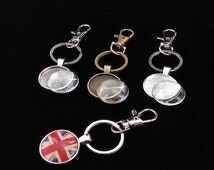 10 sets Photo Keychains DIY Kit - blank round 1 inch (25mm) bezel setting with glass cabochon and key ring